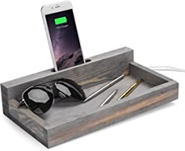 MyGift Rustic Wood Smartphone Stand & Catchall Valet Tray, Gray