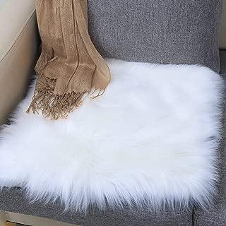 Junovo Premium Soft Square Faux Fur Seat Cushion Plush Sheepskin Chair Cover, 19.7 x 19.7inch White