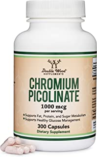 Chromium Picolinate 1000mcg for Weight Loss (High Absorption and Bioavailability) (300 Vegan Safe Capsules, Non-GMO, Glute...