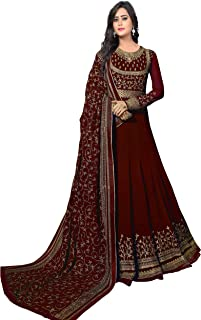 Ethnic Yard Women's Georgette Anarkali Embroidered Semi-Stitched Salwar Suit