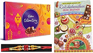 Rakhi Combo | Cadbury Celebrations Chocolate Gift Pack with Shining Gems Rakhi | Special Greeting Card with A Memorable Note | Roli Chawal Free for Tilak