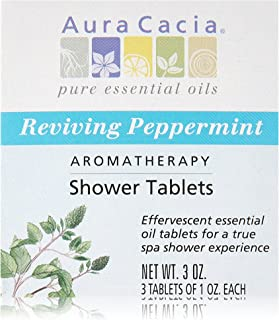 Aura Cacia Shower Tablet Peppermint Reviving, 3 Count