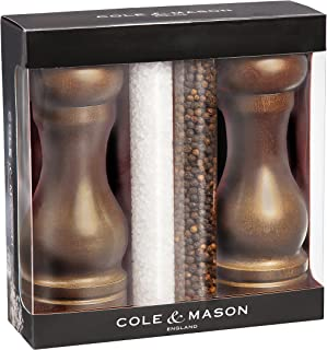 COLE & MASON Capstan Wood Salt and Pepper Grinder Gift Set - Wooden Mills Include Precision Mechanisms and Premium Sea Salt and Peppercorn Refills