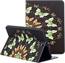 Samsung Galaxy Tab S2 SM-T813 Case 9.7, ZAOX Slim Colorful Leather Stand Pocket Case Card Slots Flip Folio Wallet Cover for Samsung Galaxy tab S2 9.7 Inch Tablet SM-T815/T810/T813 (Green Butterfly)