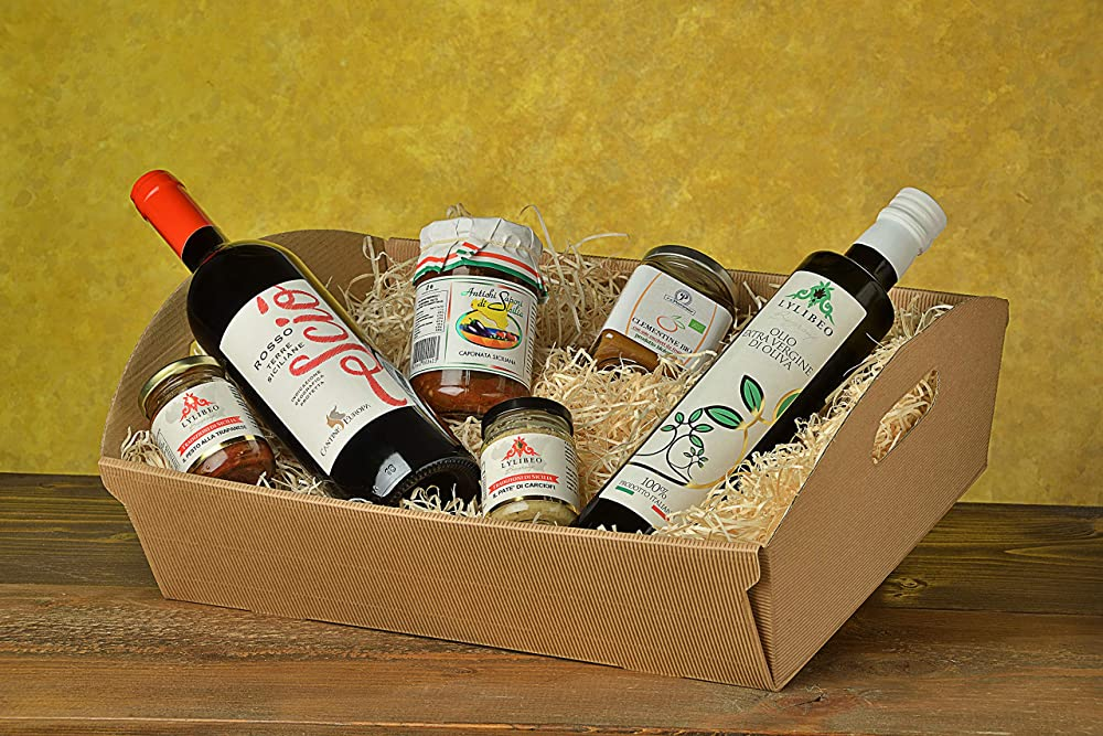 Cesto/box regalo pasquale 2021,la sicilia in tavola,6 prodotti a scelta