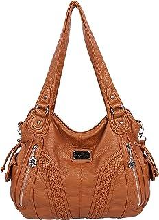 6c46c031bf Angelkiss Women Top Handle Satchel Handbags Shoulder Bag Messenger Tote  Washed Leather Purses Bag …