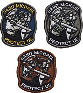 St. Saint Michael Protect Us Embroidered Morale Patch Tactical Military Army Operator Patches with Hook & Loop Fasteners Backing (D-Bundle 3 Pieces)