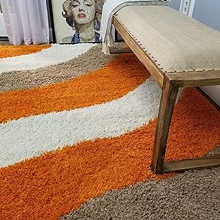 Shag Area Rug 3x5 | Wave Curve Orange Beige Ivory Shag Rugs for Living Room Bedroom Nursery Kids College Dorm Carpet by European Made MH10 Maxy Home