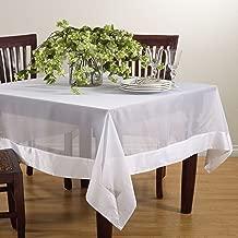 "SARO LIFESTYLE JH002.W72S Sheer Square Tablecloth with Satin Border, 72"", White"