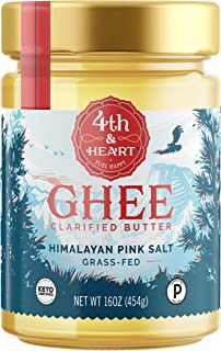 Himalayan Pink Salt Grass-Fed Ghee Butter by 4th & Heart, 16 Ounce, Pasture Raised, Non-GMO, Lactose Free, Certified Paleo and Keto