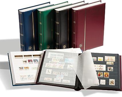 32 Schwarze Seiten A5 Prophila Briefmarken-Einsteckbuch Blauer Einband