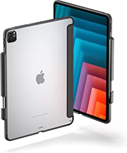 TineeOwl Glace iPad Pro 12.9 inch Case 2021, 2020, 2018 (5th, 4th & 3rd Generation) Ultra-Slim Clear Case with Pencil Holder, Supports Apple Pencil Wireless Charging, Lightweight (Black)