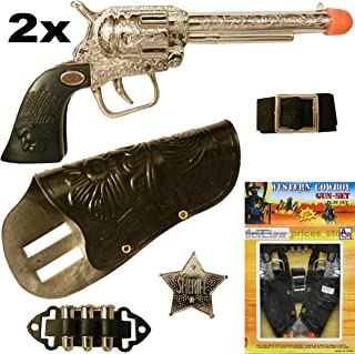 Unbranded 2 (Two) Cowboy Gun Toy Pistol Revolver Wild WEST Play Set Badge Belt Holster Silver