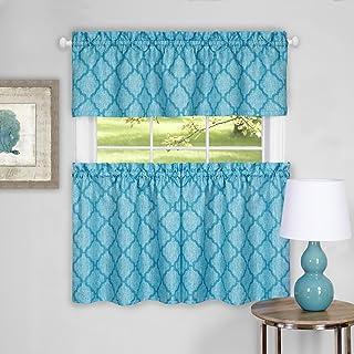 """ستارة نافذة منزلية achim المفروشات كولبي طبقة زوج من مجموعة ستارة قصيرة ، 58"""" × 24"""" ، أزرق اللون, Turquoise, 58"""" x 36"""""""