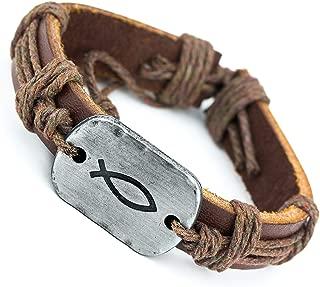 jesus fish leather bracelet