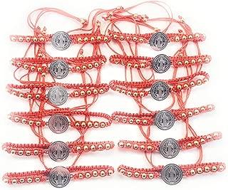 12 pcs Saint Benedict Red Bracelet with Silver Color Medal and Gold Color Stones 12 pzas Pulsera Roja De San Benito Con Medalla Color Plateado Piedras Color Dorado