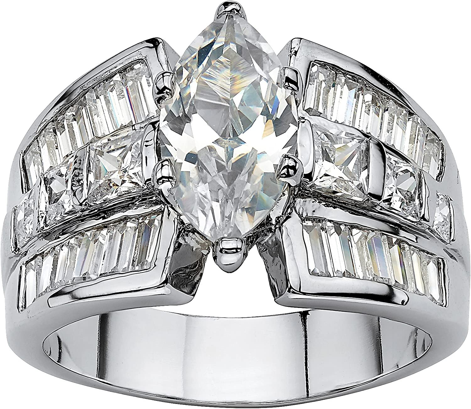 Palm Beach Jewelry 18k Gold-Plated or Platinum-Plated Marquise Cut and Emerald Cut Cubic Zirconia Wide Band Engagement Ring