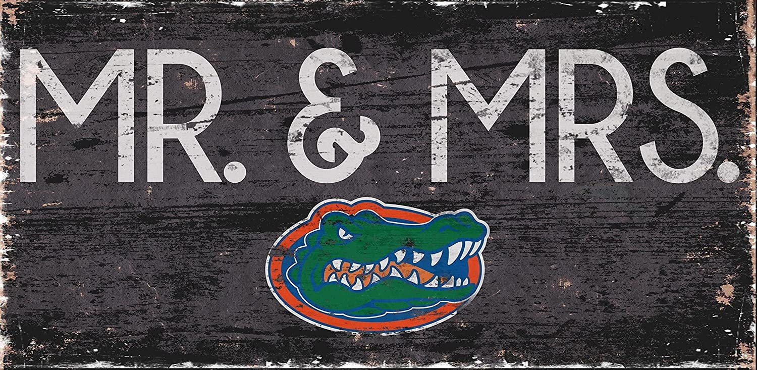 NCAA Florida Gators 12  x 6  Mr. and Mrs. Wood Sign