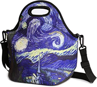 Nuovoware Insulated Lunch Bag, Neoprene Lunch Tote Reusable Picnic Bag Soft Thermal Cooler Tote Multi-Purpose Grocery Container with Adjustable Crossbody Strap, Zip Closure, Starry Night