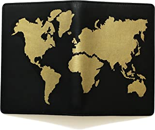 Lethnic Passport Holder, 100% Handmade and Hand-Painted on Genuine Leather with Multiple Functions for Travel (Gold)