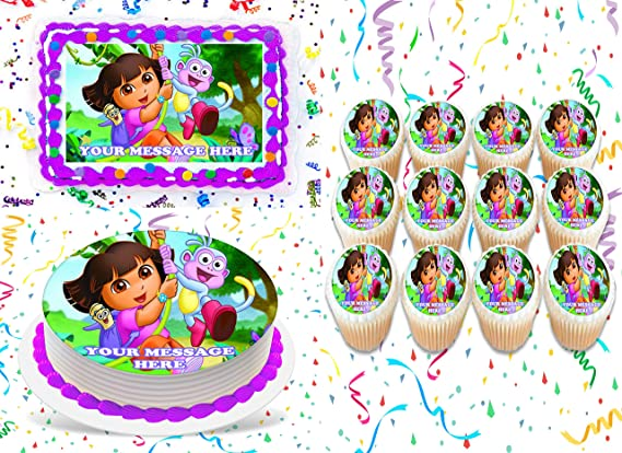 DORA THE EXPLORER PERSONALISED EDIBLE ICING CUSTOM CAKE DECORATION TOPPER IMAGE