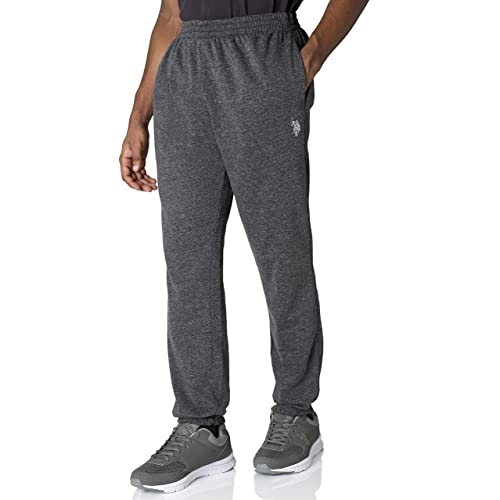01d10259a37f41 US Polo Assn. Mens Basic Closed Bottom Active Fleece Jogger Sweatpants Jog  Pants - Charcoal