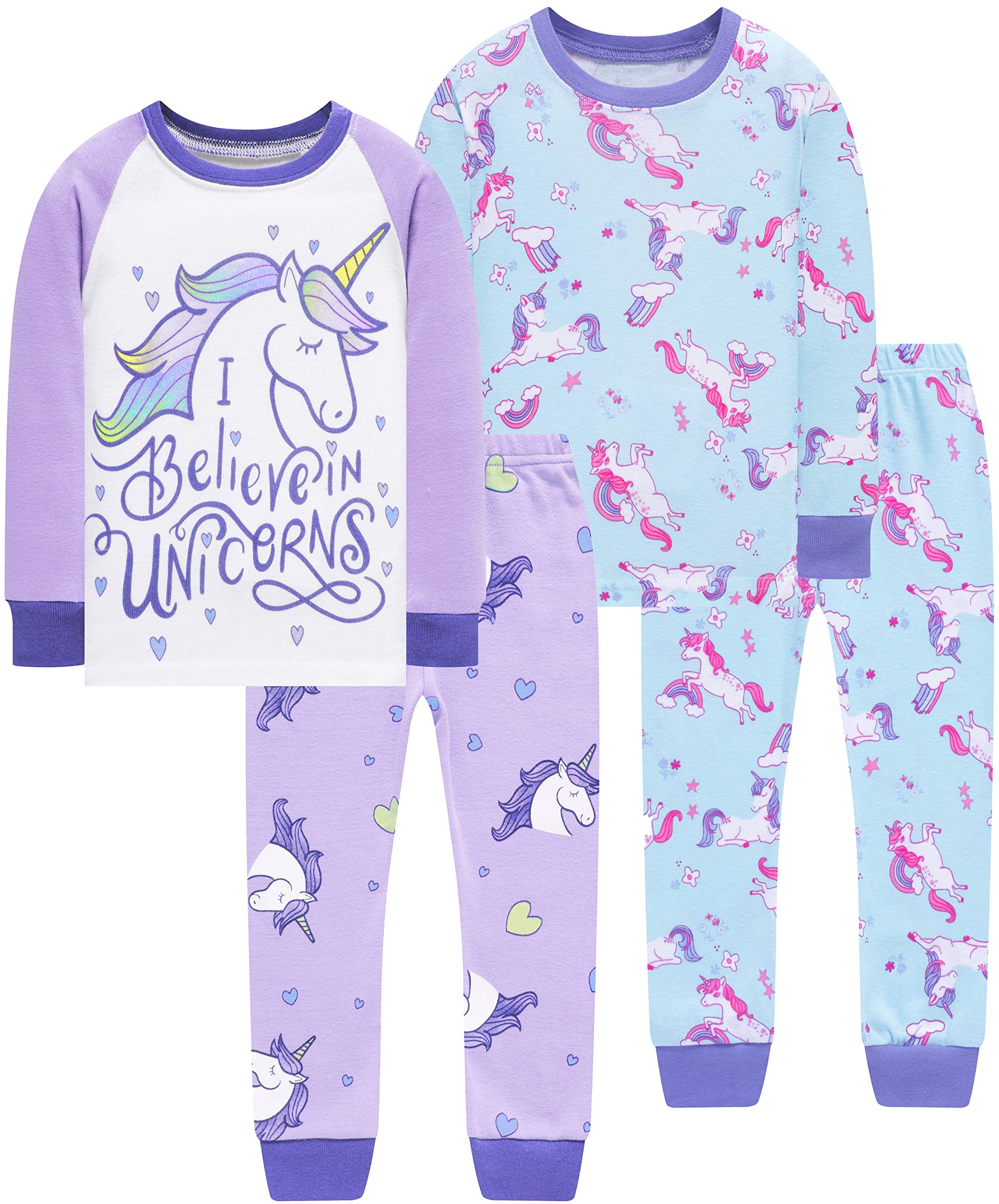 Image of Long Sleeve 4 Pc. Cotton Unicorn Pajama Sets for Girls - See More Styles