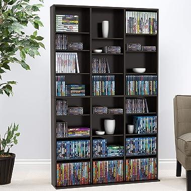 Atlantic Oskar Adjustable Media Cabinet - Holds 756 CDs, 360 DVDs or 414 Blu-Rays/Games, 21 Adjustable and 6 Fixed Shelves PN