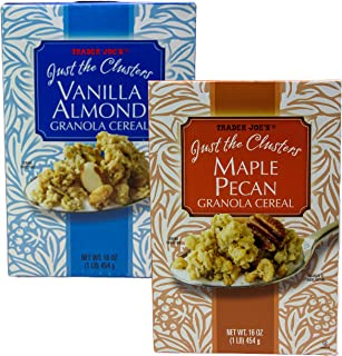 Trader Joes Just The Clusters Cereal Bundle One Box Maple Pecan and One Box Vanilla Almond