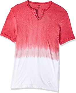 INC International Concepts Men's Split-Neck Dip Dyed T-Shirt Licorice Red XL