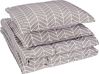 amazonbasics Comforter Set, Full / Queen, Grey Chevron, Microfiber, Ultra-Soft