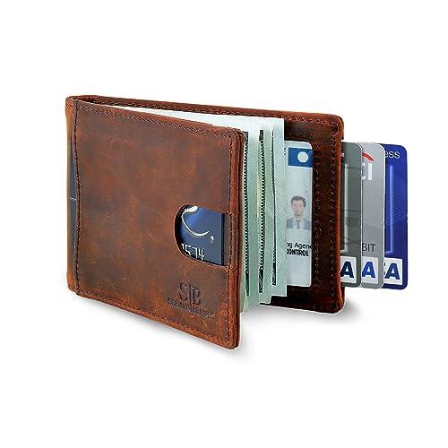 a15a1e13daa8 SERMAN BRANDS RFID Blocking Slim Bifold Genuine Leather Minimalist Front  Pocket Wallets for Men with Money
