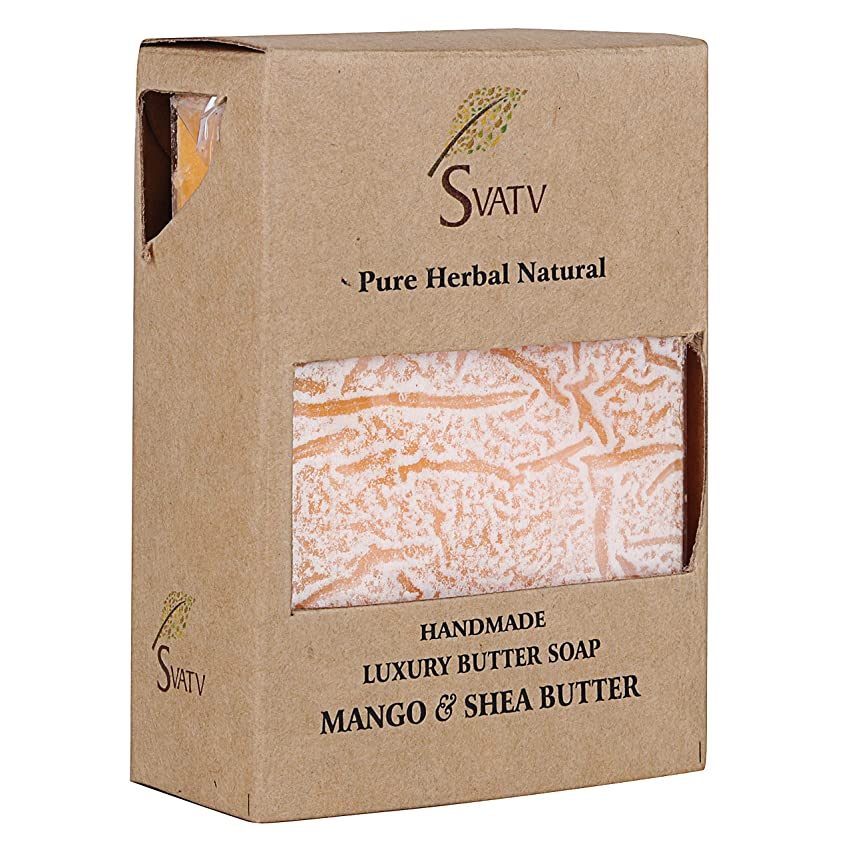 サワー球体未接続SVATV Handmade Luxury Butter Soap Mango & Shea Butter For All Skin types 100g Bar