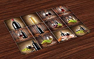 Ambesonne Wine Place Mats Set of 4, Wine Themed Collage on Wooden Backdrop with Grapes and Meat Rustic Country Drink, Washable Fabric Placemats for Dining Room Kitchen Table Decor, Brown Black