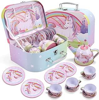 JOYIN Unicorn Castle Pretend Tin Teapot Set for Tea Party and Kids Kitchen Pretend Play