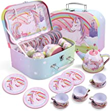 Unicorn Castle Pretend Tin Teapot Set for Tea Party and Kids Kitchen Pretend Play