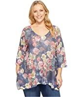 Nally & Millie - Plus Size Rose Floral Print Tunic