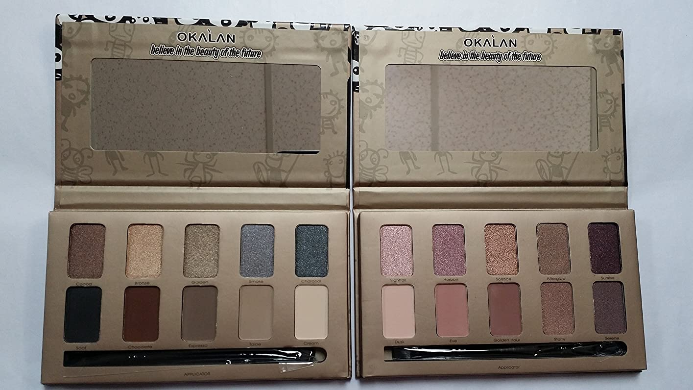 球状迷彩再発するOKALAN 10 Shade Natural Eyeshadow Palette Display Set, 12 Pieces (並行輸入品)