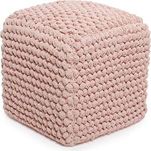 BIRDROCK HOME Buds Pouf Foot Stool Ottoman - Knit Bean Bag Floor Chair - Cotton Braided Cord - Great for The Living Room, Bedroom and Kids Room - Small Furniture (Dusty Rose - Buds)