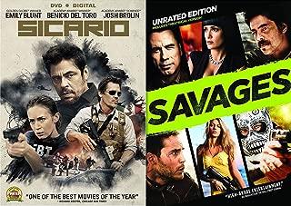 Mexican Cartel American Militants Double Feature Sicario & Savages Bundle 2-DVD Set