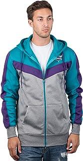 Charlotte Hornets Men's Full Zip Hoodie Sweatshirt Jacket Back Cut, Large, Teal