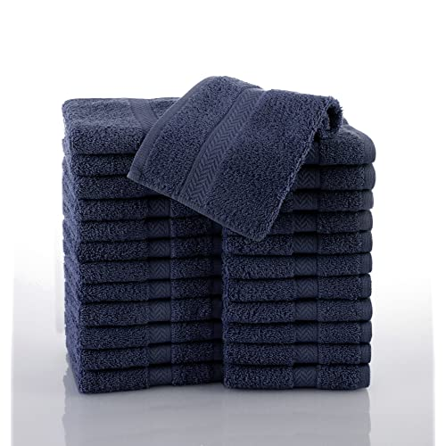 COMMERCIAL 24 PIECE WASH CLOTH TOWEL SET BY MARTEX - 24 Wash Cloths, Home, Shower, Tub, Gym, Pool - Machine Washable, Absorbent, Professional Grade, Hotel Quality - NAVY