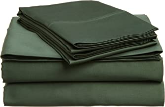 Superior 100% Premium Combed Cotton, 4-Piece Sheet and Pillowcase Cover Set, Solid, Queen - Hunter Green