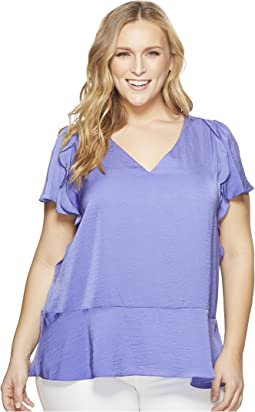 Plus Size Flounce V-Neck Short Sleeve Top