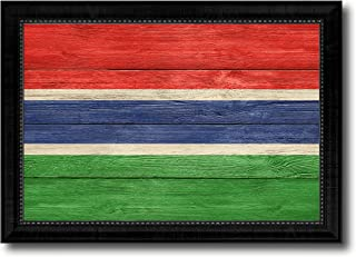 Gambia Country Flag Texture Canvas Print, Wood Grain Black Picture Frame Gift Ideas Home Decor Wall Art Decoration