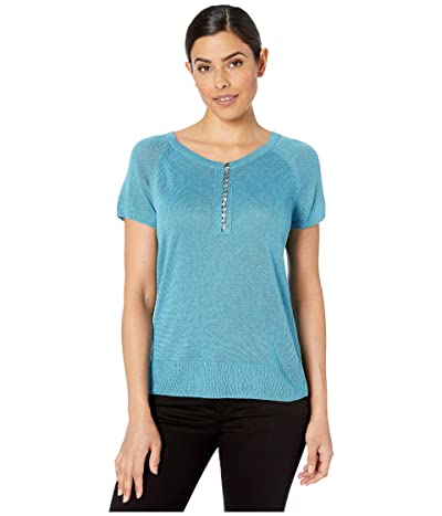 NIC+ZOE Button Up Tee (Deep Turquoise) Women