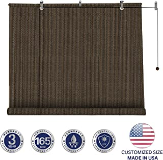 Windscreen4less Exterior Roller Shade Blinds Outdoor Roll Up Shade with 90% UV Protection Privacy for Deck Back Yard Gazebo Pergola Balcony Patio Porch Carport 7' W x 6' L Brown