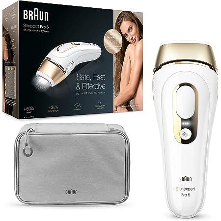 Braun Silk-expert Pro 5 PL5014 Epilatore Luce Pulsata IPL, Epilazione Permanente, Bianco e Oro, Corpo e Viso, Rasoio Venus Smooth, Custodia, Clinicamente Testato