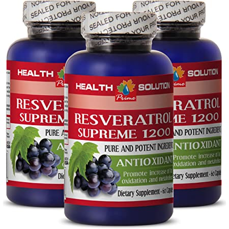 Resveratrol Capsules - RESVERATROL Supreme 1200MG - Weight Loss Results (3 Bottles)