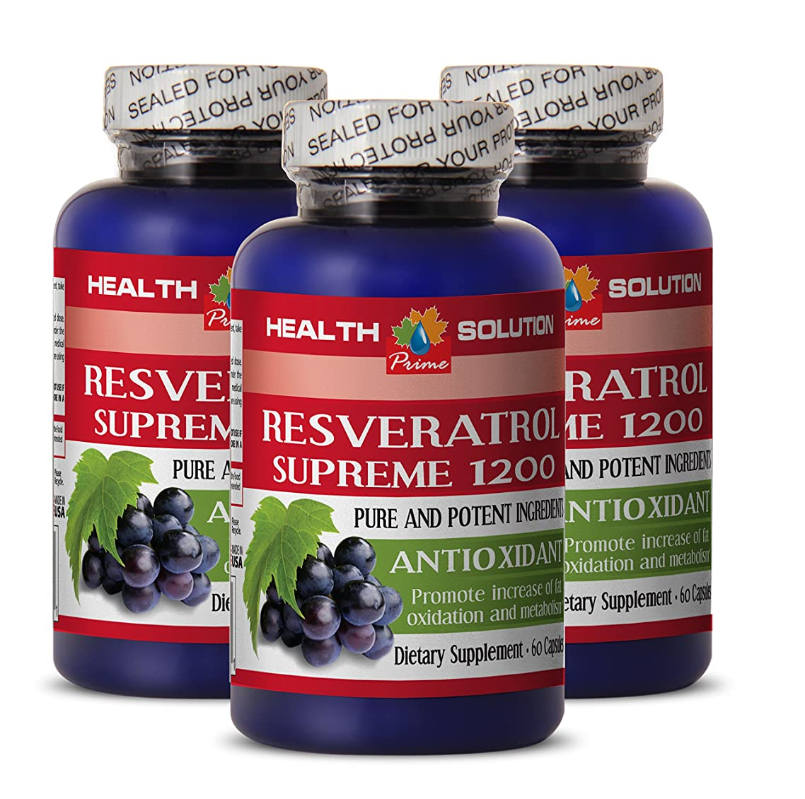 Resveratrol capsules - RESVERATROL SUPREME 1200MG - weight loss results (3 Bottles)